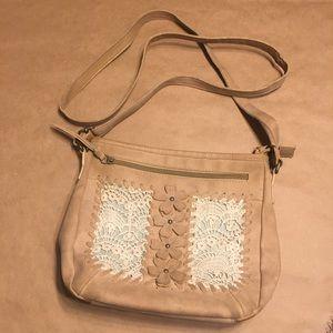 Wallflower Bohemian style w/flowers cross-body Bag